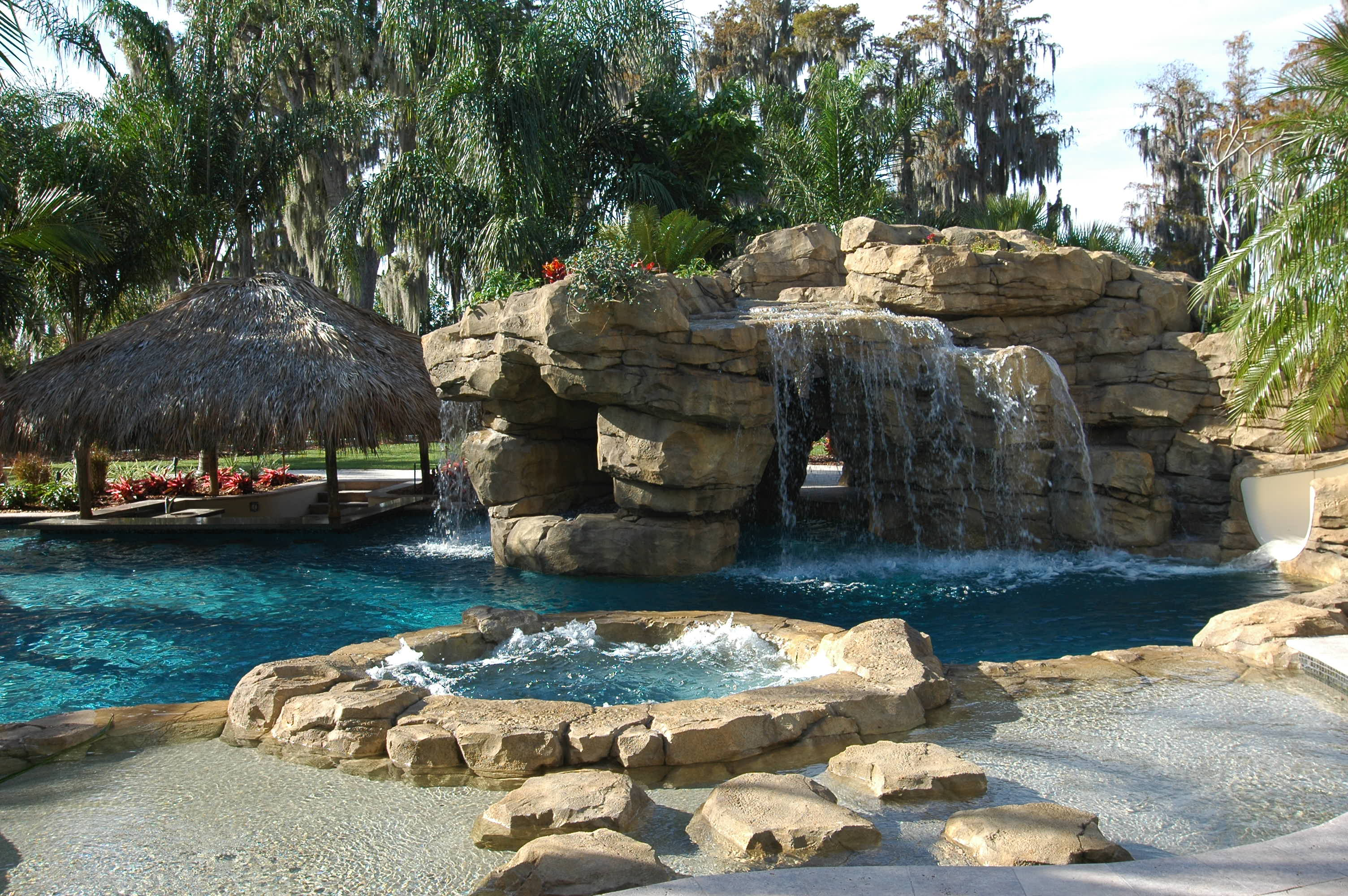 custom rock formation in pool