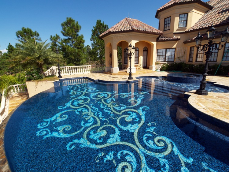 Luxury pool with custom tile design