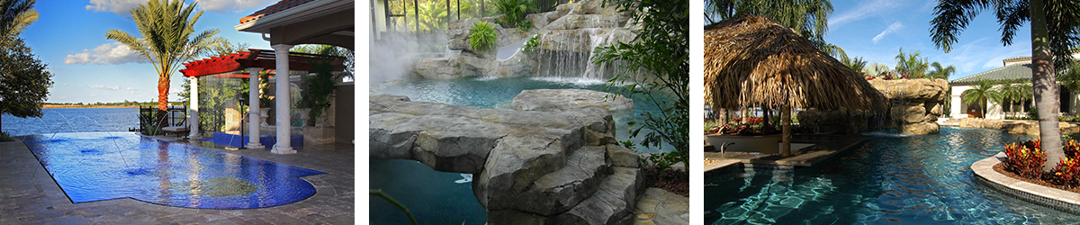Pool with rock waterfall