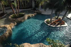 Luxury pool islands and spa