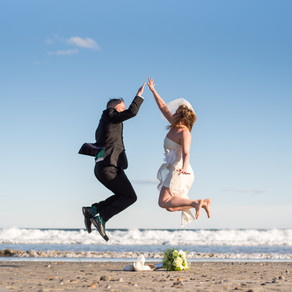 Married! Jumping High Fives! Leigh and Jason