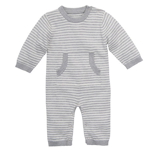 Stripe Knit Jumpsuit in Gray