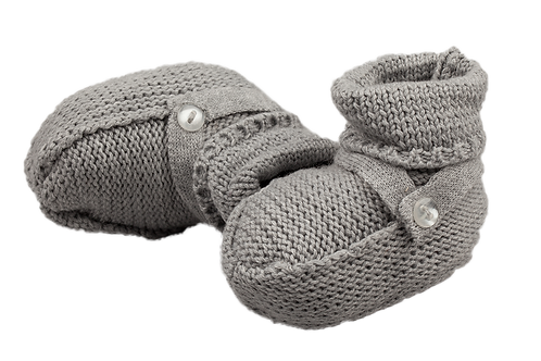 Gray Knit Booties with a Strap 55G