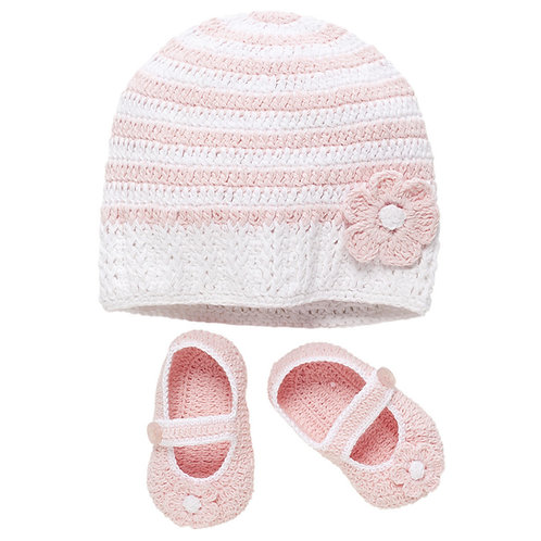 Croched Pink Stripe Hat and Bootie Set 20026