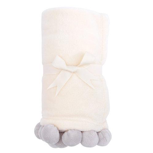 89247 Grey Pom Pom Blanket
