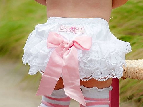 Special Edition RuffleButts White Lace/Pink Bow