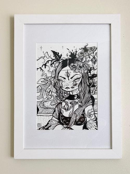 """Mona"" Framed illustration"