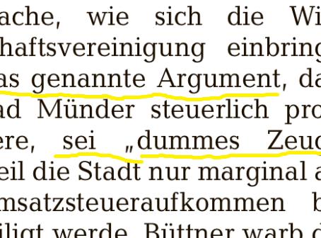 """Thema verfehlt und Zusatzvermerk """"dummes Zeug""""!"""