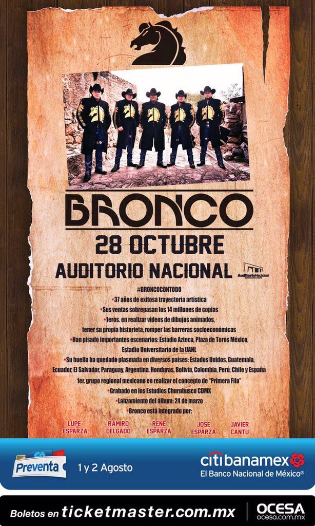 Bronco,se presentará el próximo 28 de octubre en el Auditorio Nacional