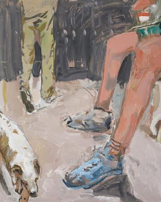 Gambette e cagnolino 2018, olio su tavola 60x50 cm