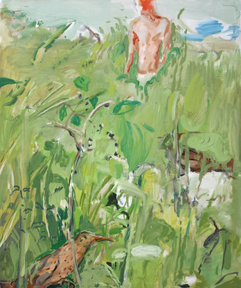 Ragazzo nel campo verde 2018, olio su tela 60x50 cm