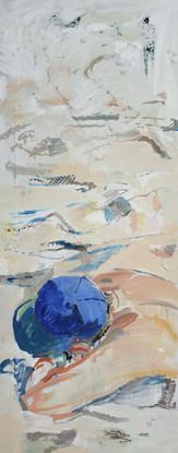 Spiaggia 2018, olio su tela 100x40 cm