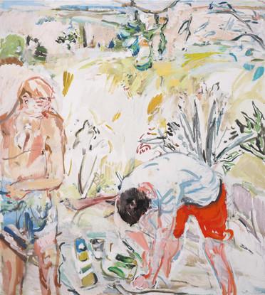 In giardino 2019,  olio su tela 90x80 cm