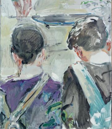 Ragazzi che vanno a scuola 2018, olio su tela 60x50 cm
