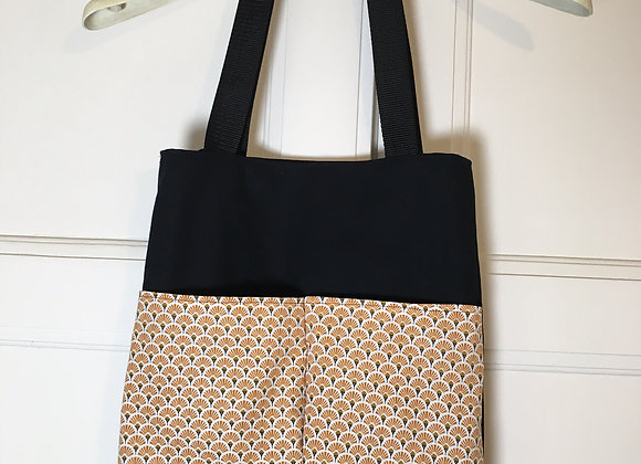 Tote bag Eventails bronze & noir