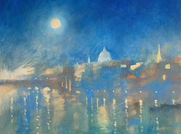 A MacFaul Bright Moon Over St Paul's oil