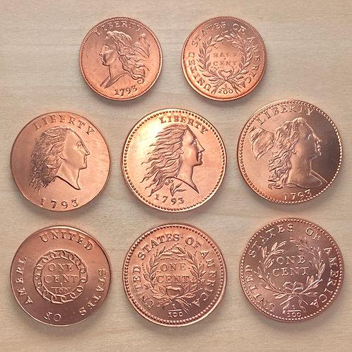 Complete 8 piece 1793 Gallery Mint copper reproduction set