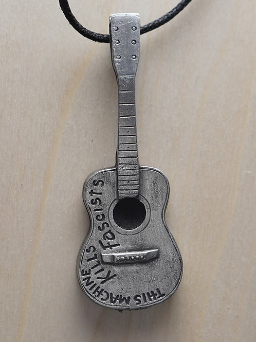 Woody Guthrie Guitar Pendant