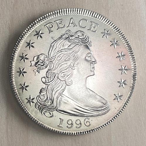 "1996 ""Peace"" Draped Bust X-Mas Gift Silver Dollar"