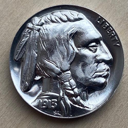 NICKEL Overstruck High Relief Indian Head/Buffalo Tribute