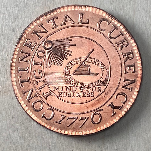 1776 Continental Currency reproduction in copper