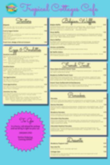 Tropical Cottages Cafe Breakfast Menu #2