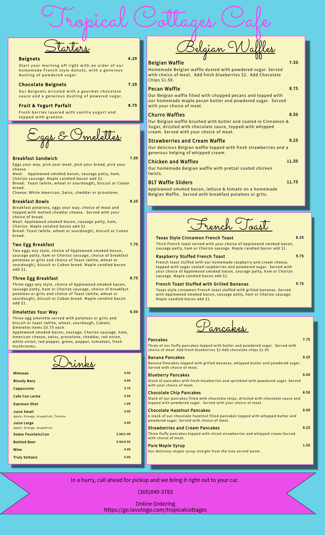 Tropical Cottages Cafe Breakfast Menu (1