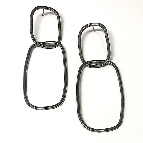 Double Link Post Earrings L Steel Grey