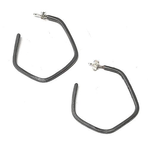 Hoop Earrings M Steel Grey