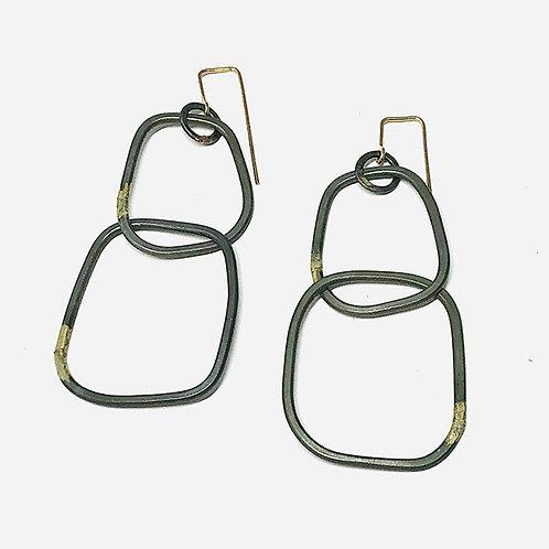 Double Link Drop Earrings w/14k accents