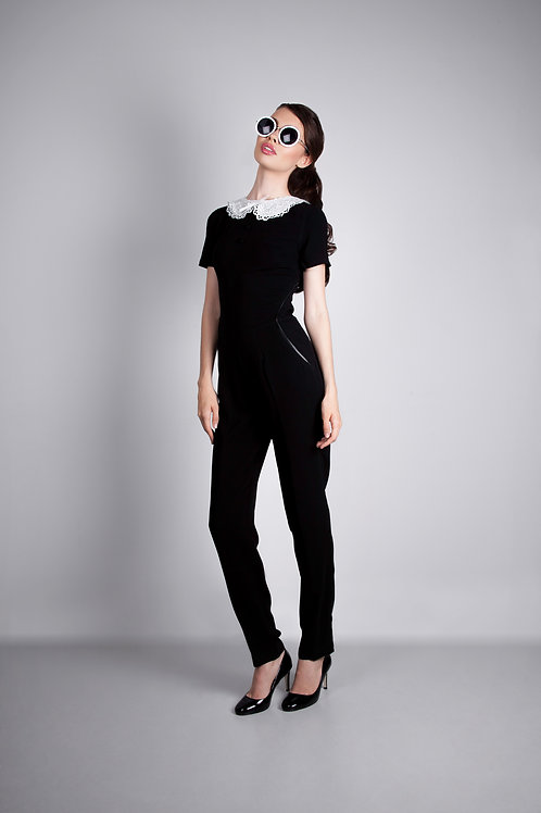 White Collar Jumpsuit
