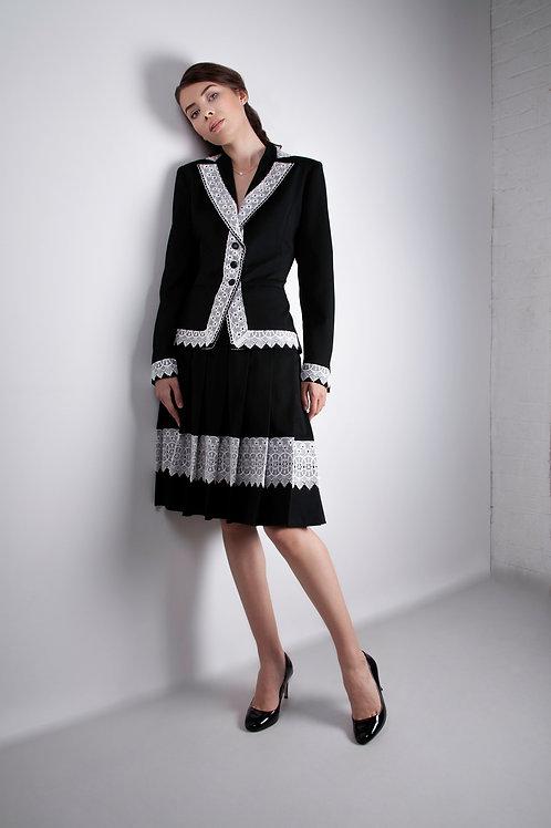 Black Lace Trim Skirt Suit