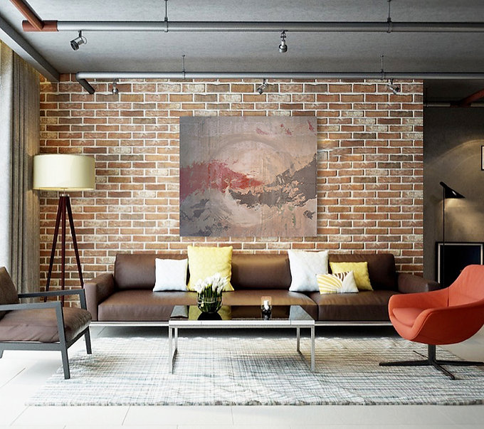Common Ground Original Painting by Janet Galvin in Modern Living Room