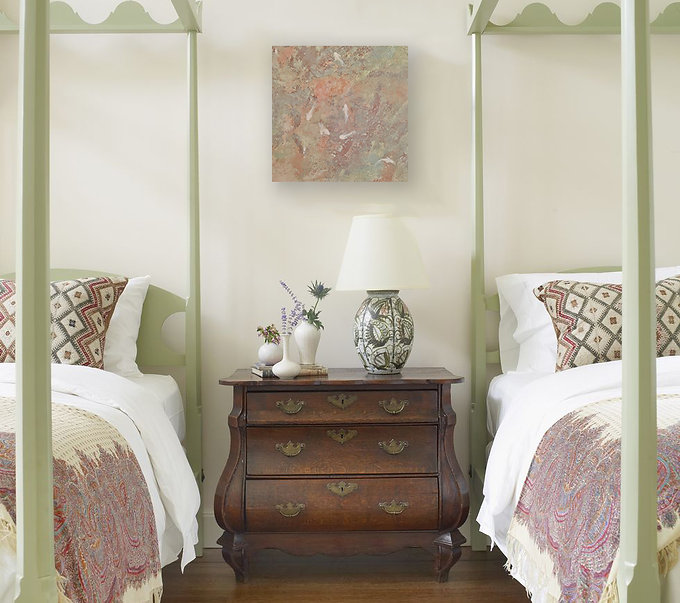 Lagoon Original Painting by Janet Galvin in Guest Bedroom