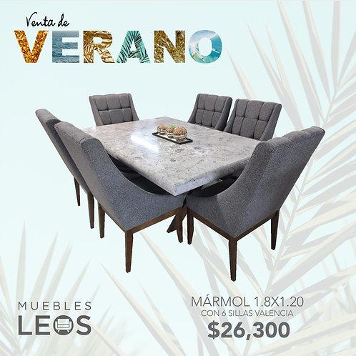 Mármol 1.8x1.20 con 6 sillas Valencia