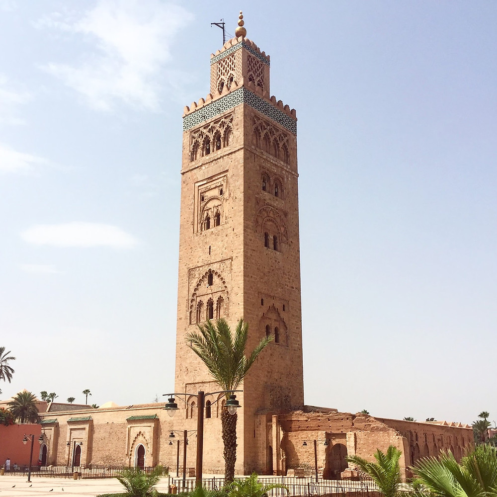 The Koutoubia Mosque and its imposing minaret, early on a Friday morning.