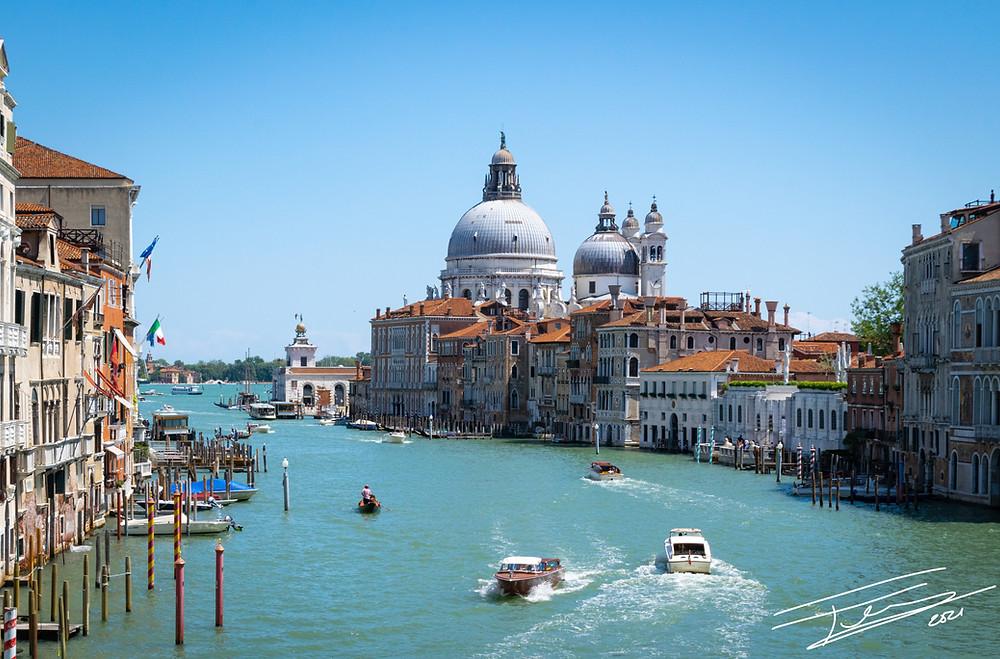 View of the Grand Canal from the Ponte dell'Accademia, Venice with Basilica di Santa Maria della Salute in the distance.
