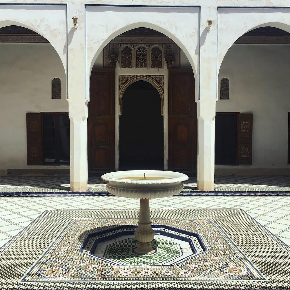 A courtyard inside the Palais de Bahia, Marrakech, Morocco.