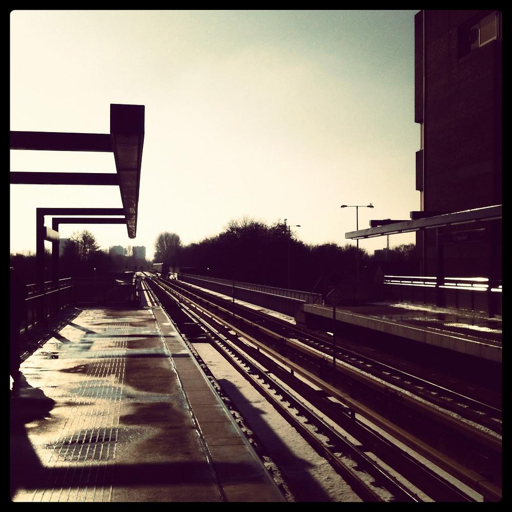 Hoogvliet Metro station in the wintry afternoon sunshine, looking towards De Akkers.