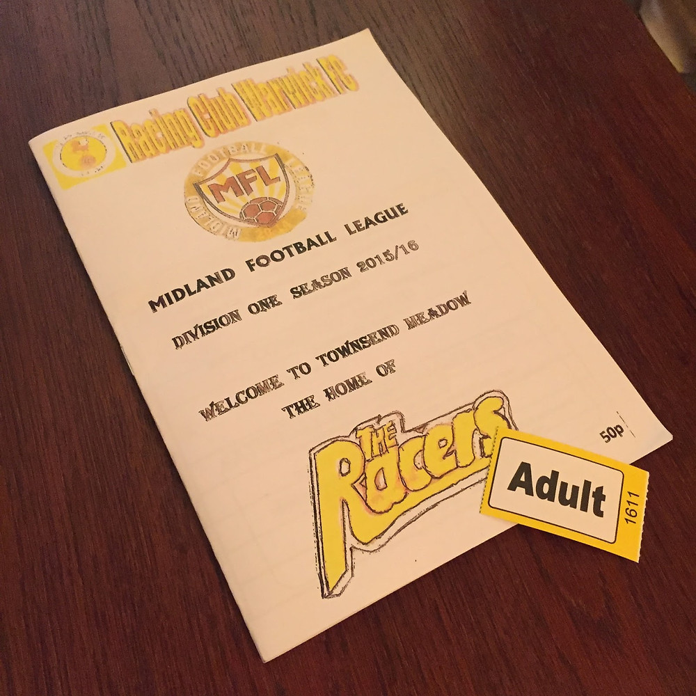 Match ticket and programme for Racing Club Warwick.