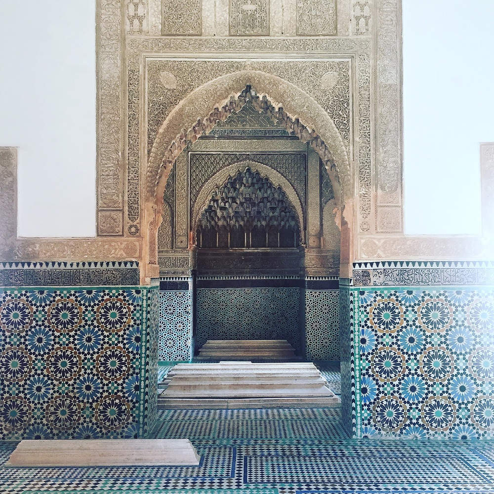 Inside one of the mausoleums at the Saadian Tombs, Marrakesh.