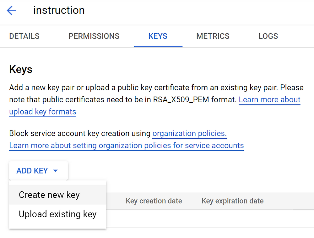Create new Service Account Dialogflow JSON key