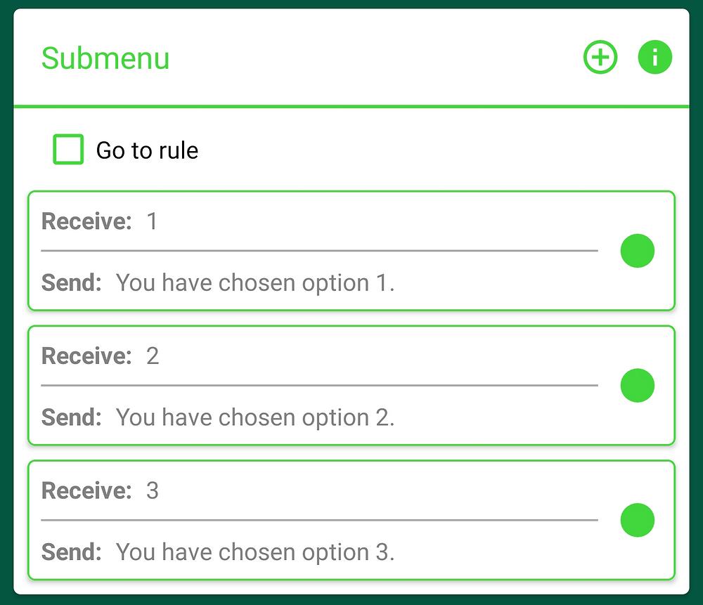 Example Submenu options in AutoResponder