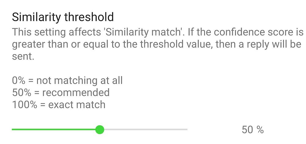 Similarity Threshold slider in the general settings of AutoResponder