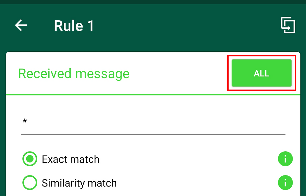 The All button in the upper right corner of a rule.