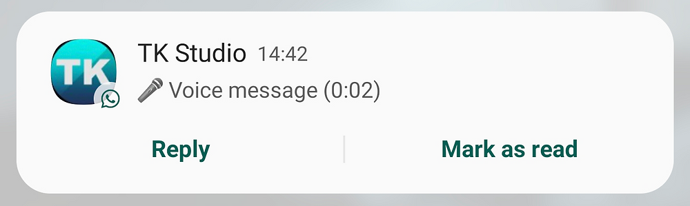 Notification when receiving a voice message