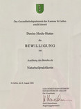 Berufsausübungsbewilligung des Gesundheitdepartements