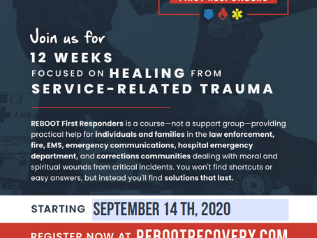Reboot Utah - FREE Stress and Trauma course for First Responders and their families. Starts Sept. 14