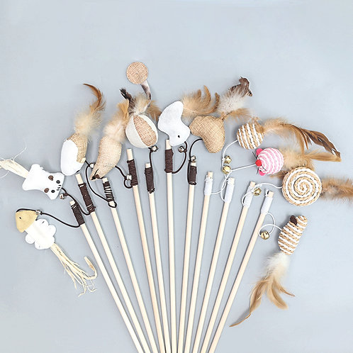 40cm  Cat Teaser Toys Feather with bell