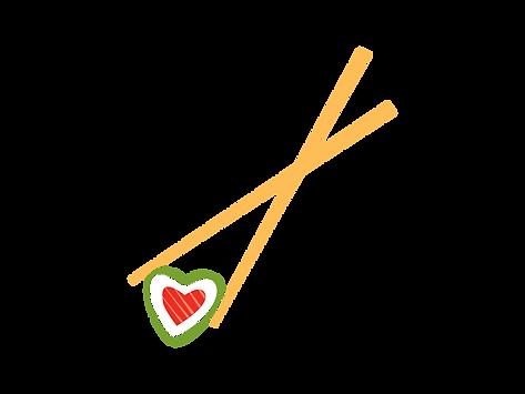sushi heart chopsticks